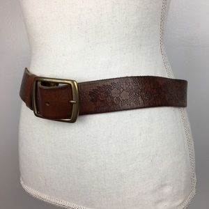 Lucky Brand Tooled Flowers Leather Belt